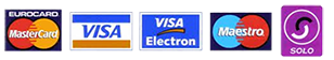 Types of card payment Visa, Maestro, American Express, Solo, Switch